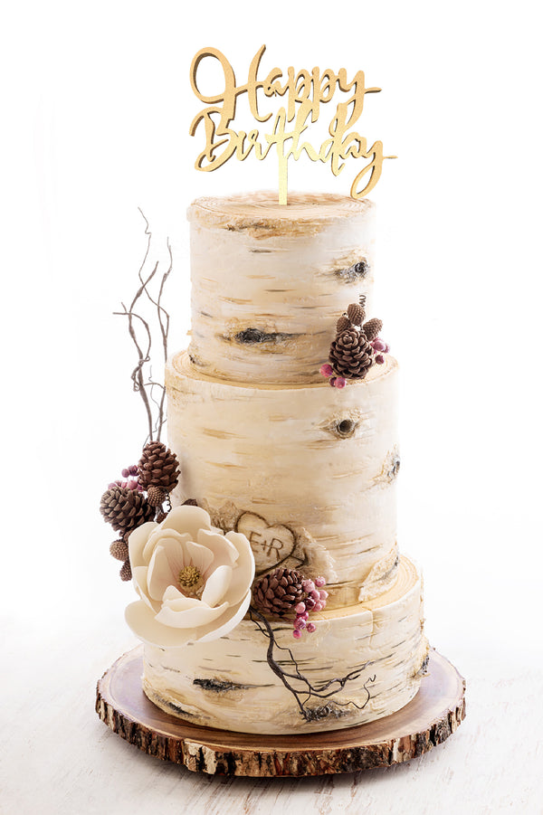Happy Birthday Cursive Metallic Wood Rose Gold Cake Topper  Birthday Cake Topper  - GlobalWedding
