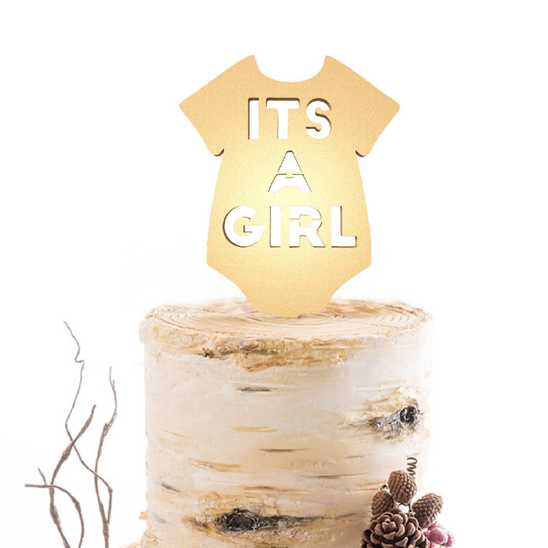 Champagne Glitter Custom Wood Its a Girl Cake Topper  Birthday Cake Topper  - MatchMadeAbroad