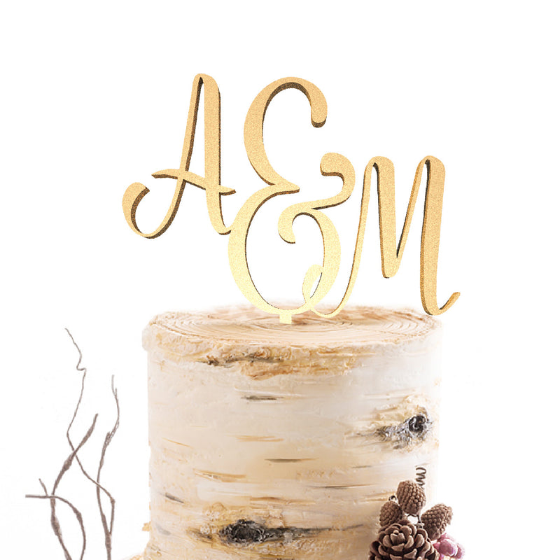 Champagne Metallic Initials Wood Elegant Acrylic Cake Topper  Personalised Cake Topper  - MatchMadeAbroad