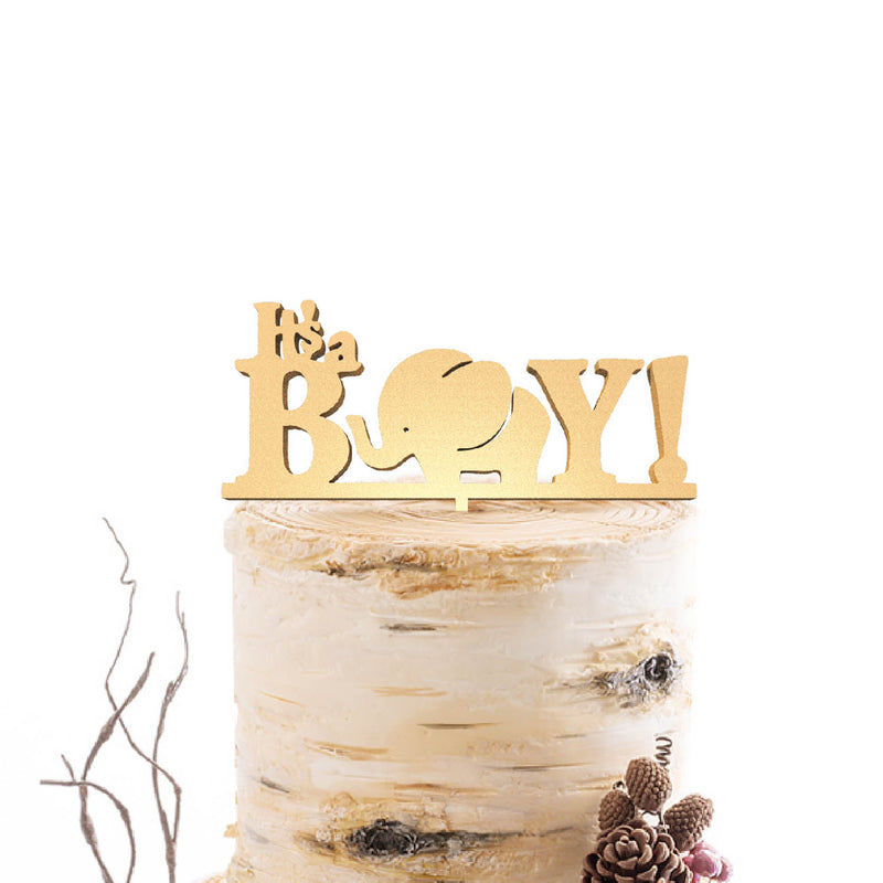Glitter Silver Wood Copper Its a Boy Cake Topper  Birthday Cake Topper  - GlobalWedding