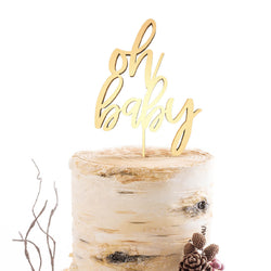 Mirror Elegant Cursive Oh Baby Cake Topper  General Cake Topper  - MatchMadeAbroad