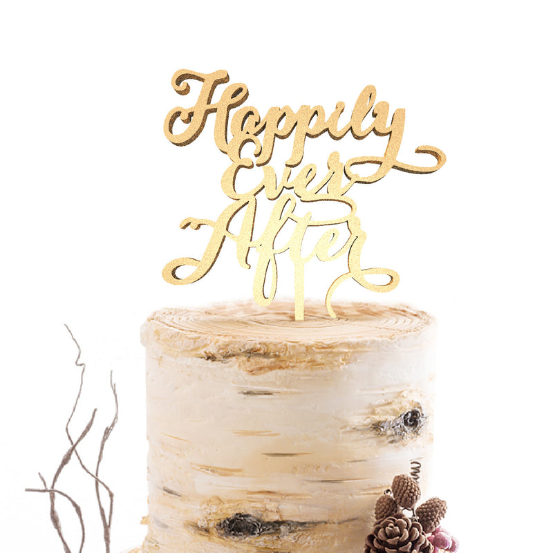 Delicate Copper Rose Gold Happily Ever After Cake Topper  General Cake Topper  - GlobalWedding