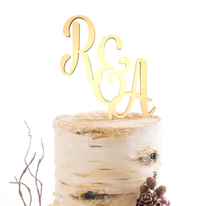 Gold Wedding RA Initials Mirror Cake Topper  Monogram Cake Topper  - GlobalWedding