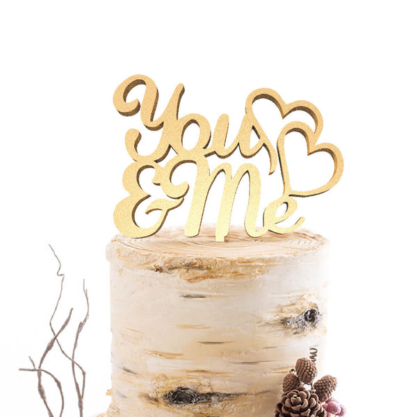 Champagne You & Me Metallic Handmade Natural Cake Topper  General Cake Topper  - GlobalWedding
