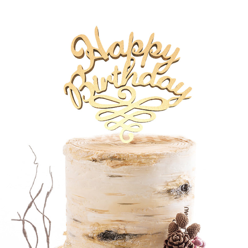 Wood Delicate Champagne Happy Birthday Acrylic Cake Topper