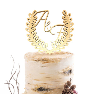 Decoration Vintage Wedding Initials Calligraphy Cake Topper  Personalised Cake Topper  - GlobalWedding