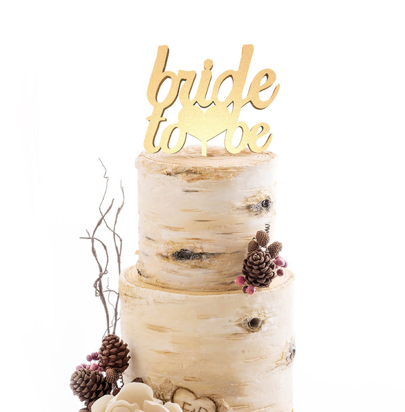 Mirror Rustic Gold Bride To Be Cake Topper  General Cake Topper  - GlobalWedding