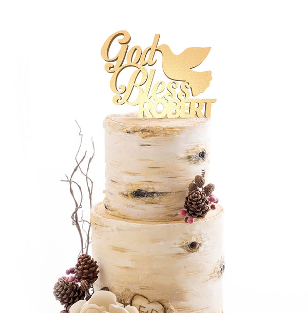 Handmade Custom Metallic Delicate God Bless Robert Cake Topper  Personalised Cake Topper  - GlobalWedding