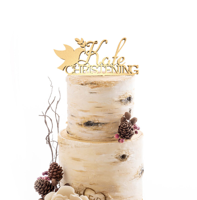 Kate Christening Cursive Personalized Handmade Delicate Cake Topper  Personalised Cake Topper  - GlobalWedding