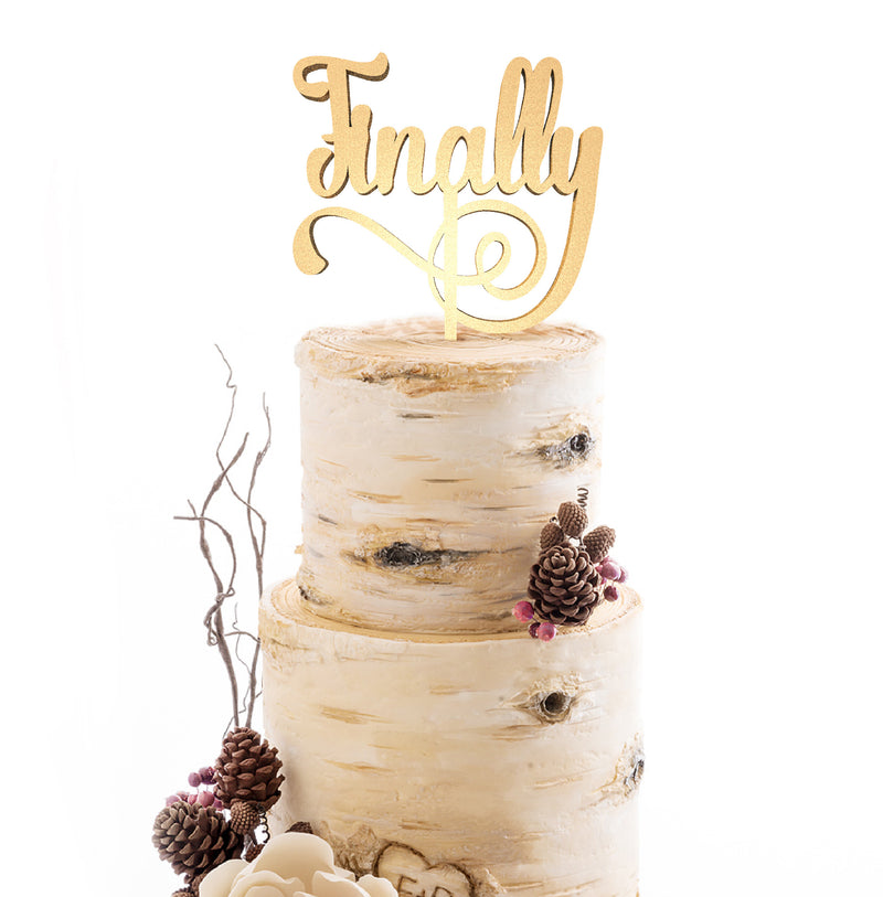 Custom Calligraphy Rustic Delicate Finally Cake Topper  General Cake Topper  - GlobalWedding