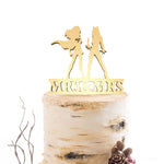 Cursive Decoration Rustic Mrs & Mrs Copper Cake Topper  General Cake Topper  - GlobalWedding