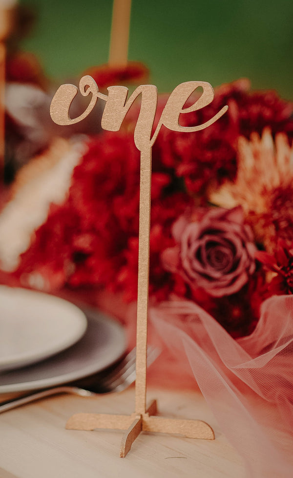 Wood Engraved Modern Wedding Table Number