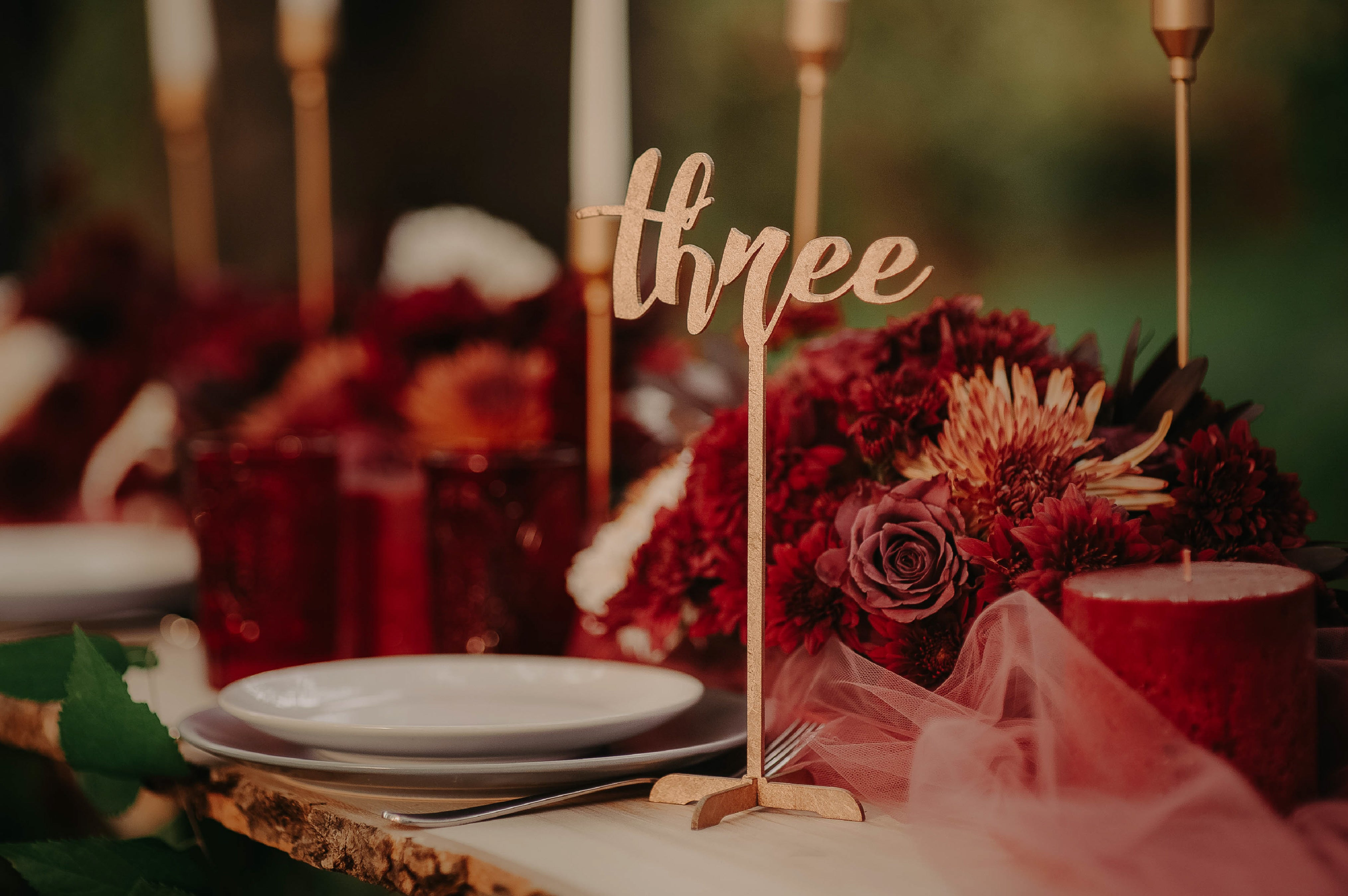 Engraved Rustic Vintage Table Number    - GlobalWedding