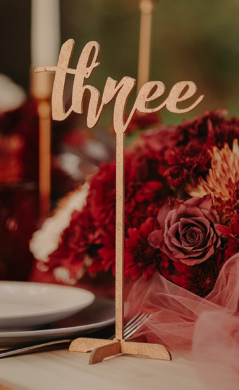 Gold Wedding Modern Table Number    - MatchMadeAbroad