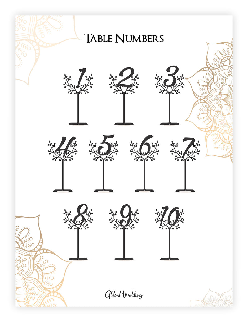 Wedding Table Numbers - Rose Gold Silver Engraved Table Numbers