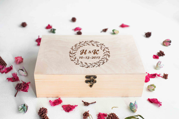 Engraved Rustic Unique Modern Jewelry Box    - GlobalWedding