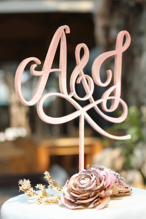 2 Initial Cake Topper