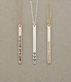 Skinny Vertical Bar Necklace, Long Name Necklace / Personalized Gold Bar Necklace / Personalized Bar Necklace, Gold Bar, Vertical Bar