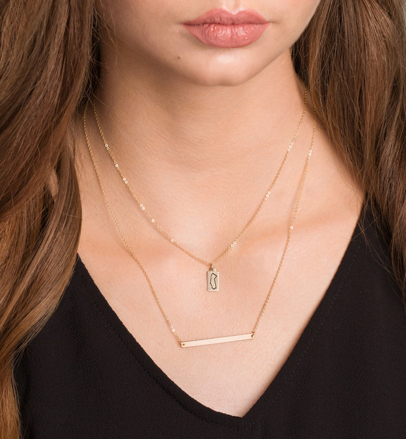 Skinny Bar Necklace, Personalized Gold Bar, Customized Gold Bar Necklace, Silver, Gold or Rose Gold Large Bar Necklace, Bridesmaid Gift