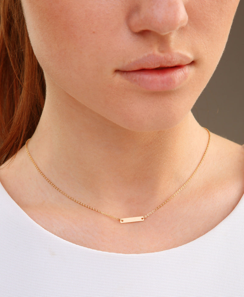 TINY Horizontal Gold, Rose Gold or Silver Bar Choker Necklace, 14K Gold Filled, Initial Bar Charm, Personalized Necklace, Engraved