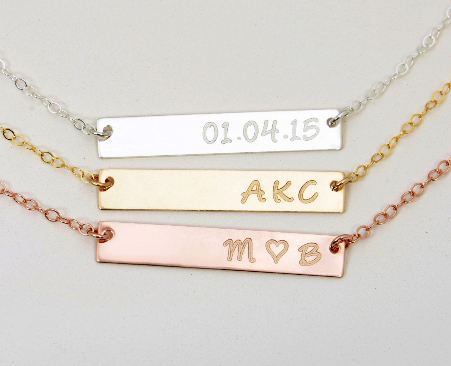 rose gold engraved necklace engraved bar necklace personalized