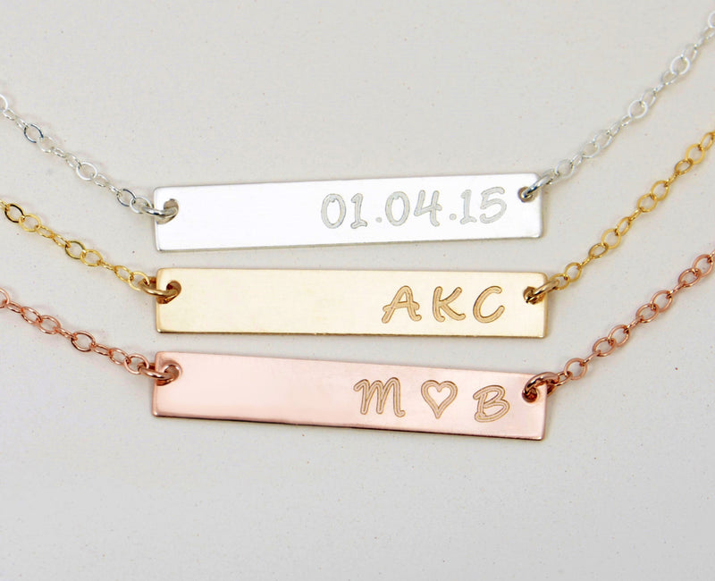 Rose Gold Engraved Necklace, Engraved Bar Necklace, Personalized Rose Gold Bar Necklace, Personalized Bar Necklace, Gold Bar, Valentines Day