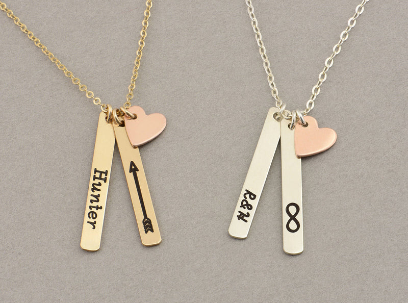 MINI Vertical Bar Necklace with Heart, Name Necklace / Personalized Gold Bar Necklace, Gold Bar, Vertical Bar  Bar Necklace  - GlobalWedding