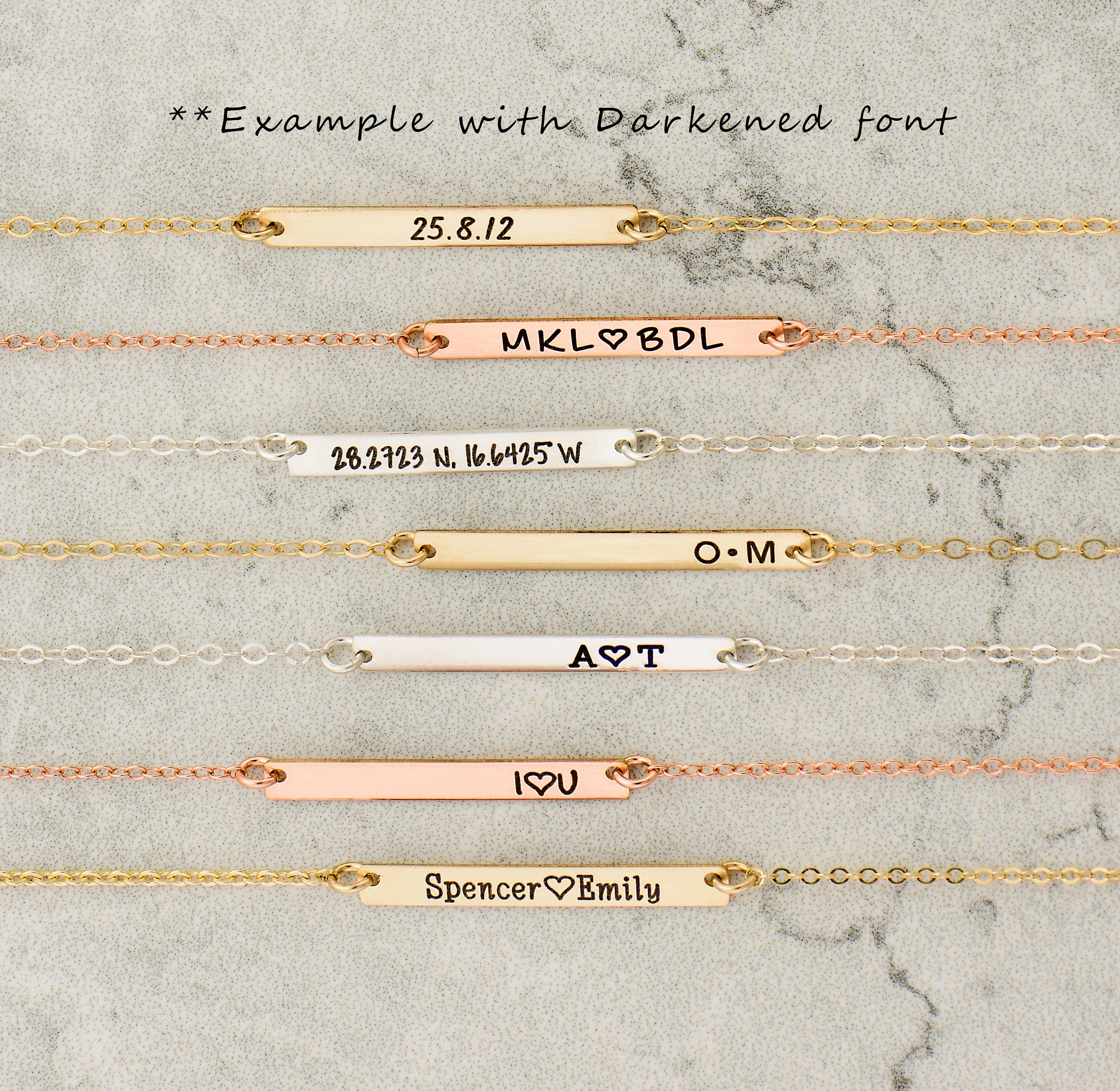 customized silver skinny mini bridesmaid necklace rose large or gold bar personalized pin gift