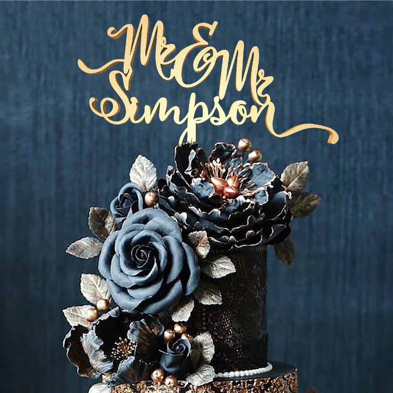 Mr and Mrs Simpson Rustic Calligraphy Personalized Decoration Cake Topper