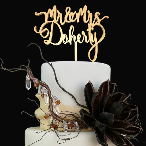 Copper Silver Gold Vintage Mr and Mrs Doherty Cake Topper  Personalised Cake Topper  - GlobalWedding
