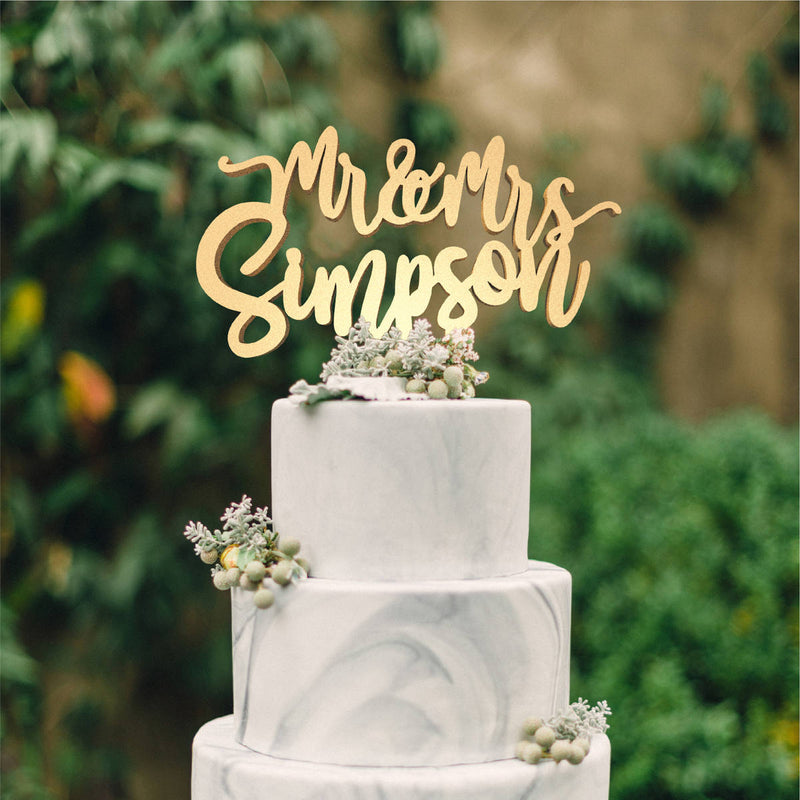 Natural Mr and Mrs Champagne Custom Copper Cake Topper