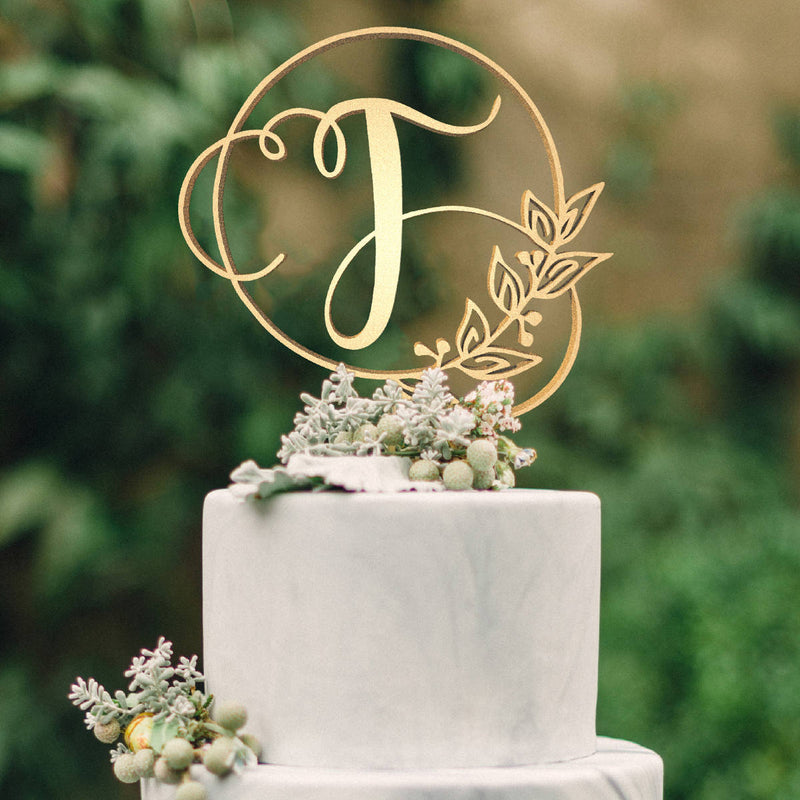 Personalised Monogram Wedding Cake Topper - Letter T