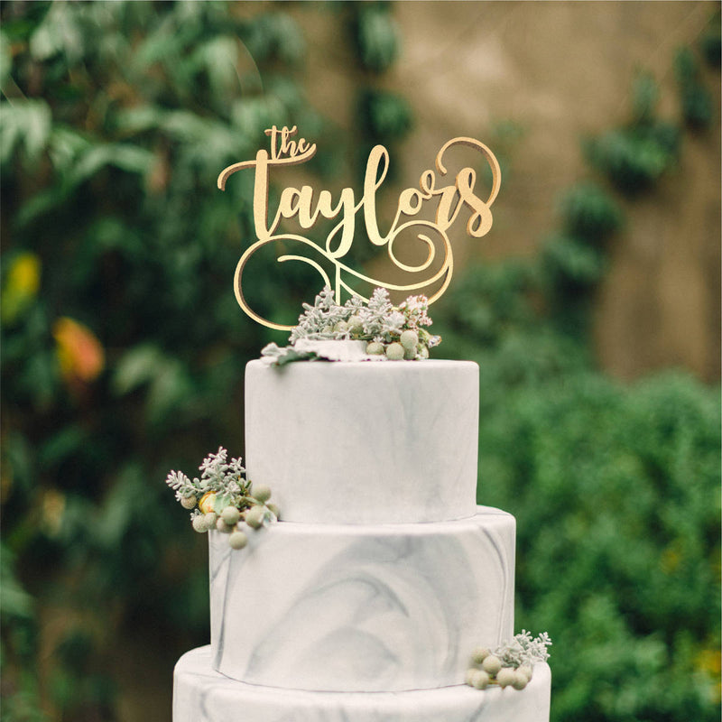 Calligraphy Rose Gold Mirror The Taylors Cake Topper  Personalised Cake Topper  - GlobalWedding