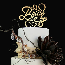 Calligraphy Bride To Be Delicate Glitter Wood Cake Topper  General Cake Topper  - GlobalWedding