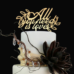 All You Need is Love Vintage Calligraphy Cursive Delicate Cake Topper  General Cake Topper  - GlobalWedding