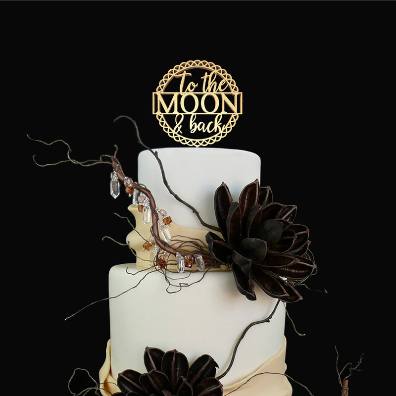 To The Moon And Back Handmade Delicate Wood Cake Topper