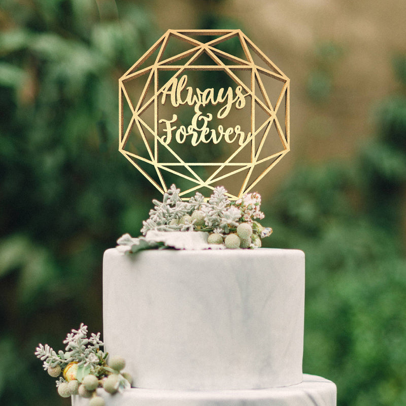 Mirror Champagne Always and Forever Wedding Cake Topper  General Cake Topper  - GlobalWedding