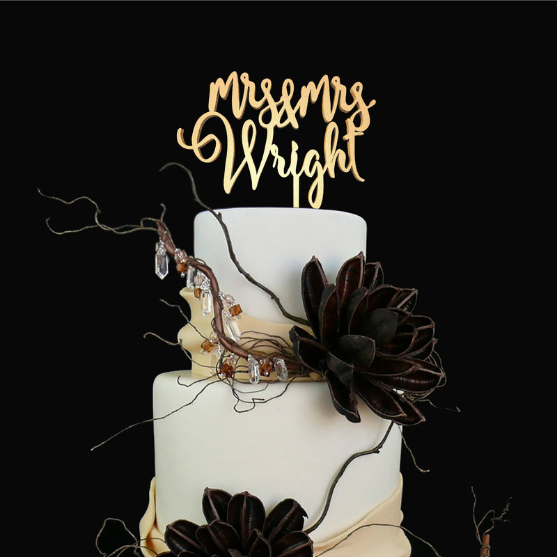 Mrs and Mrs Cake Topper - Lesbian Wedding Cake Topper