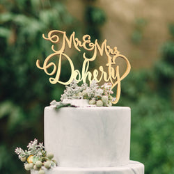 Delicate Decoration Champagne Mr and Mrs Doherty Acrylic Cake Topper  Personalised Cake Topper  - MatchMadeAbroad