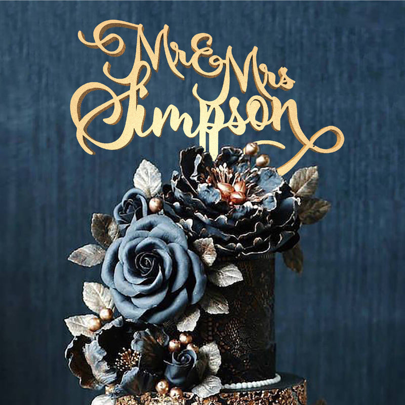 Handmade Cursive Delicate Mr and Mrs Simpson Rose Gold Cake Topper  Birthday Cake Topper  - GlobalWedding