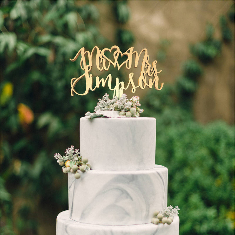 Personalized Mr and Mrs Calligraphy Vintage Custom Cake Topper