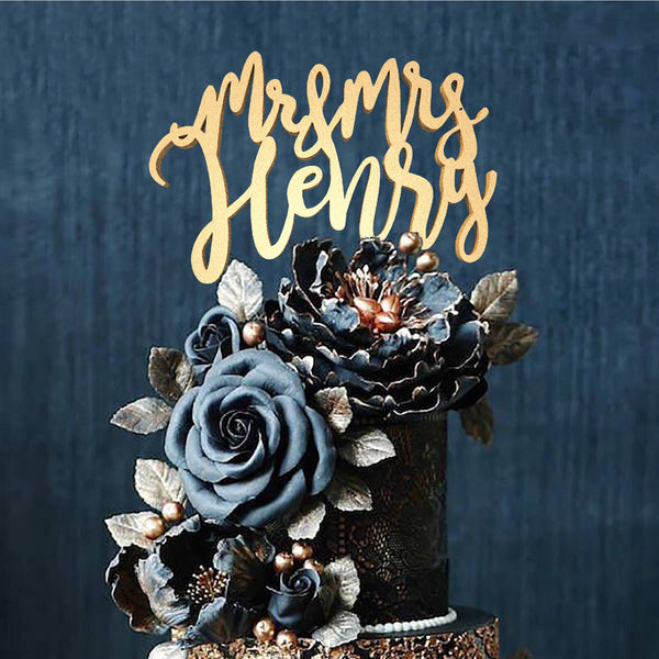 Copper Wood Mr and Mrs Henry Wedding Cursive Cake Topper  Personalised Cake Topper  - GlobalWedding