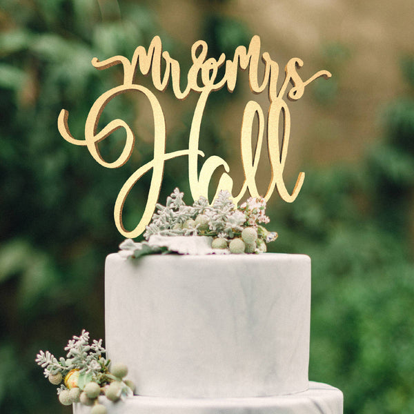 Gold Mirror Calligraphy Silver Mr and Mrs Hall Acrylic Cake Topper  Personalised Cake Topper  - GlobalWedding