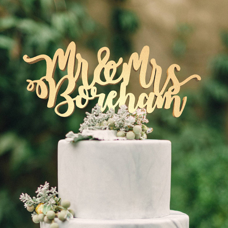 Elegant Metallic Mr and Mrs Rustic Personalized Cake Topper  Personalised Cake Topper  - GlobalWedding