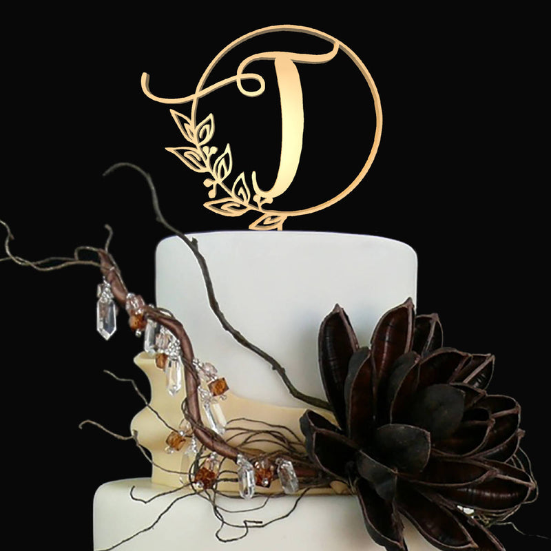 Letter T - Customised Monogram Cake Topper  Letter Cake Topper  - GlobalWedding