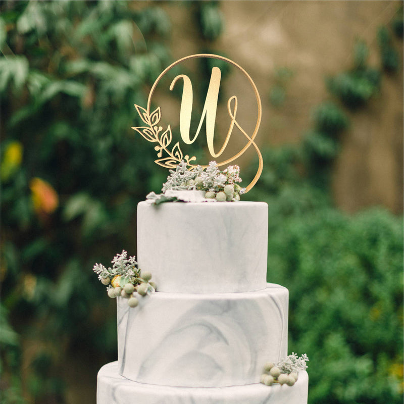 Letter U - Customised Monogram Cake Topper  Letter Cake Topper  - GlobalWedding