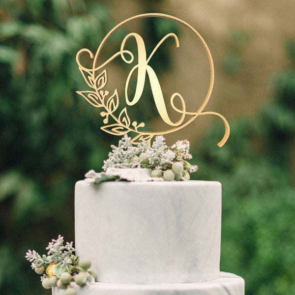 Customised Monogram Wedding Cake Topper - Letter K  Letter Cake Topper  - GlobalWedding