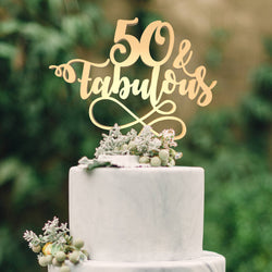 Metallic Delicate Personalized 50 Fabulous Cake Topper  Birthday Cake Topper  - GlobalWedding