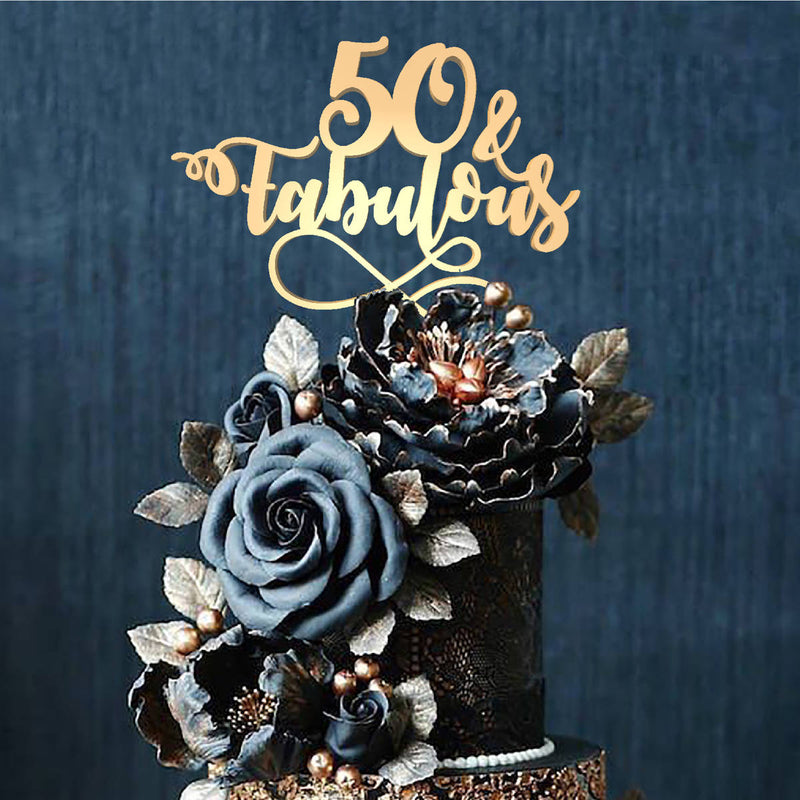 Metallic Delicate Personalized 50 Fabulous Cake Topper  Birthday Cake Topper  - MatchMadeAbroad