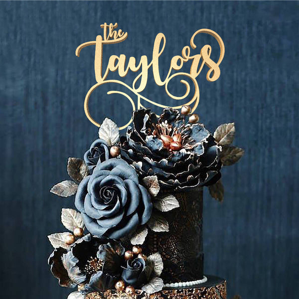 Calligraphy Rose Gold Mirror The Taylors Cake Topper  Personalised Cake Topper  - MatchMadeAbroad
